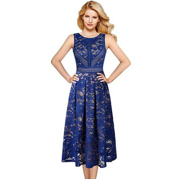 Womens Vintage Retro Full Floral Lace Contrast Patchwork Cocktail Wedding Party Flare Swing Skater A-Line Midi Dress 113