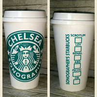 Sonographer Starbuck's Cup - RDMS - Custom Reusable Coffee Cup - Personalized Sonographer Cup with Transducer and Gel - Ultrasound Sonogram