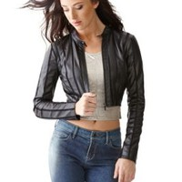 Cropped Faux-Leather Mesh-Strip Jacket