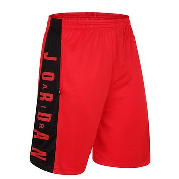 JORDAN Fashion Men Embroidering Print Sport Shorts Pants Red