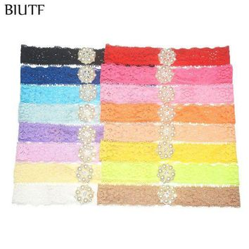 PEAP78W 16pcs/lot Stretchy Lace Headband with Pearl Rhinestone Button Hair Band Little Kids Photography Props ZF014