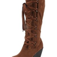 RIPLAY FEDEL-03 Women's round toe lace up tall boots on wedge with micro suede upper and fur on the top