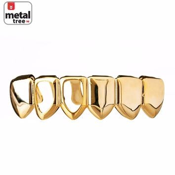 Jewelry Kay style Men's Hip Hop Grillz Plain Two Open Face 14K Gold Plated Bottom Teeth S001 R2F G