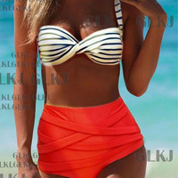 High Waist Stripe Bikini Swimsuit Swimwear