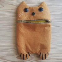 Yellow Funny Cat Zip Purse, Makeup Bag, Coin Purse, Small Accessory Pouch FREE SHİPPİNG