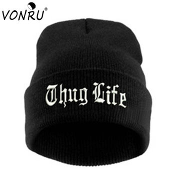 OPAL FERRIE - THUG LIFE Black Embroidery Letter Hat Unisex  Hip Hop Beanie Knitted Hat