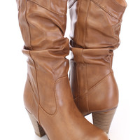 Tan Slouchy Cowboy Style Boots Faux Leather