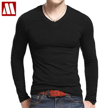 V Neck T Shirts Men Long Sleeve Tshirts Fitness T-shirts Solid Color Fitted Mens Clothing Cotton Material Tees