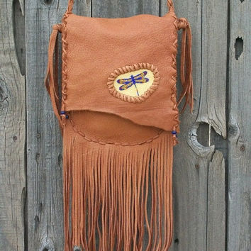 Crossbody dragonfly purse Fringed leather handbag Beaded dragonfly totem On Sale