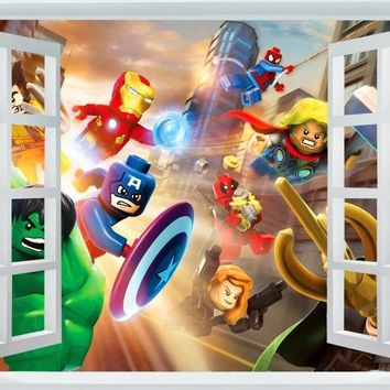Avengers Sticker Captain America Wallpaper Lego Movie Poster Marvel Hulk Wall Stickers Thor Mural Canvas Art Decoration #2499#