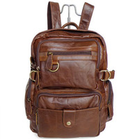 "14"" brown Retro Leather Backpacks Men's Leisure Backpack Leather Messenger Bag Travel Leather Bags"