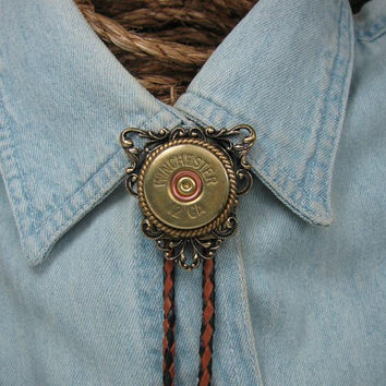 12 Gauge Shotgun Casing Fancy Saddle Brown Braided Leather Brass Bolo Tie