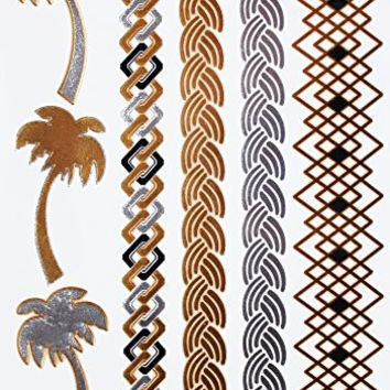 Flash Tattoos - Metallic Temporary Flash Tattoos (5) - Beach Collection - Plus a Unique Bonus Offer