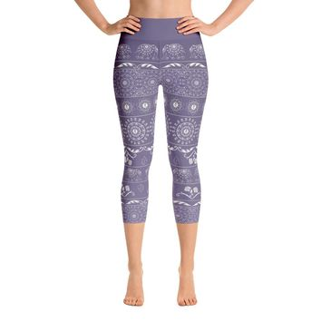 Elephant Mandala in Purple Yoga Capri Leggings