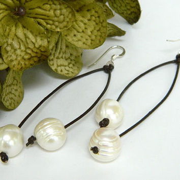 White Freshwater Pearl Brown Leather Cord Earrings Handcrafted Silver Long Dangle