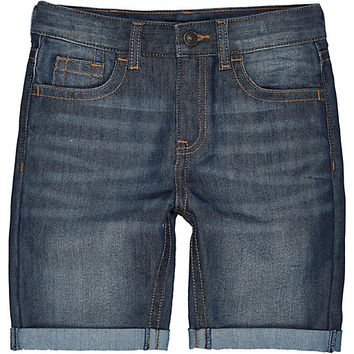 River Island Boys dark blue mid wash denim shorts
