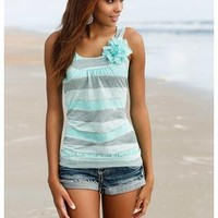 STRIPE TANK WITH CHIFFON FLOWER TRIM