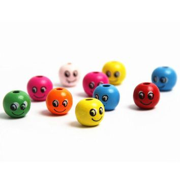 DCCKL72 2016 New 50pcs Random Smiling Face Wooden Beads Wood Spacer Beads 14mm Toys For Baby Smooth DIY Jewelry Findings Making