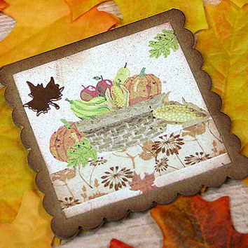 "Harvest Thank You Mini-Card, Gift Tag, Thanksgiving, Gratitude, Thinking of You, Friend - 3"" x 3"""
