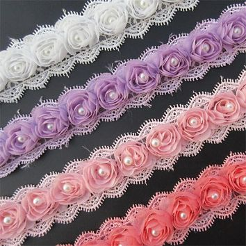 Soluble Rose Flower Pearl Chiffon Embroidered Lace Trim Ribbon Fabric Sewing Craft Patchwork Handmade DIY For Costume Decoration