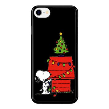 Snoopy And Christmas Tree - Black iPhone 8 Case