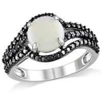 8.0mm Opal and 1/10 CT. T.W. Enhanced Black Diamond Swirl Ring in Sterling Silver