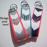 Key FOB / KeyChain / Wristlet  - inital monogram on your choice of chevron preppy -  custom