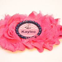 Personalized hot pink and navy anchor shabby flower headband, baby headband, newborn headband, girls headband, alligator clip