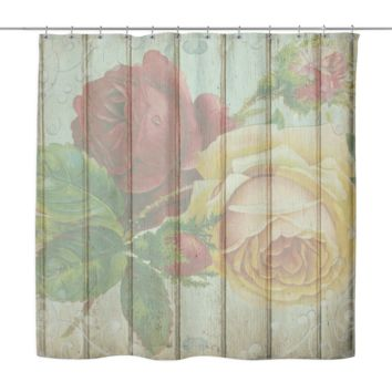 Vintage Roses Wood Look Shower Curtain