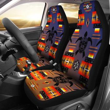 Turtle Dark Blue Orange Set of 2 Car Seat Covers