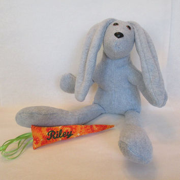 Personalized Easter Bunny , Stuffed Bunny , Gray Rabbit