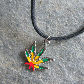 Rasta Dangle Pot Leaf Necklace, Red Yellow Green Enamel MJ Leaf, Unisex Pot Jewelry, Swarovski Crystal Birthstone Option, Hippie