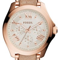 Women's Fossil 'Cecile' Multifunction Link & Leather Strap Watch, 40mm