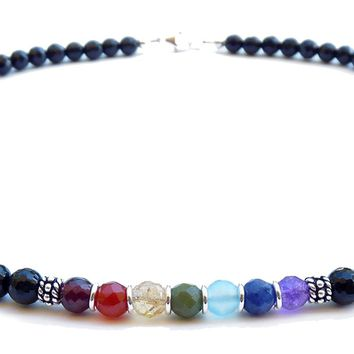 6MM Authentic Chakra Gemstone Necklace, 7 Stone Chakra Balance Align Energy Crystal Healing Energy NEC-CHA02