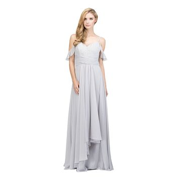 Silver Lace-Up Back Long Formal Dress with Cold Shoulder