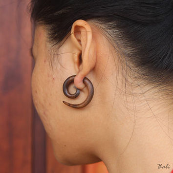 Tribal Fake Gauge Wood Earring, Spiral Fake Taper Earrings, Bali Handmade Spiral Wooden Earring
