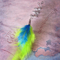 The Sea Serpent  Dreadlock Feather Dread Bead Coil Neon Green Teal Blue Turquoise Silver