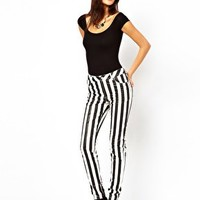 Motel Roxy Striped Skinny Jeans With PU Coating at asos.com