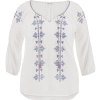 Plus Size - Multicolor Embroidered Peasant Top With Ties - White