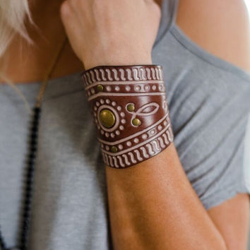 Mehndi Tooled Leather Bracelet