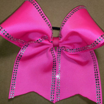 Rhinestone Edges Cheer Bow