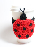 Ladybug cup sleeve, animal coffee cozy, red and black crochet cozy, Christmas In July Sale