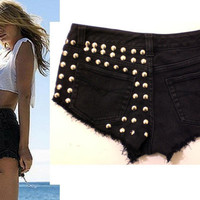 HypoxicAndLost  Handmade  BLACK STUDDED Denim by hypoxicandlost