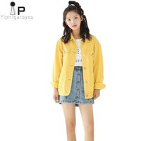 Autumn Vintage Short Denim Jacket Women 2018 Korean Fashion Female Slim Yellow Jeans Women Coats Harajuku Casual Female Jacket