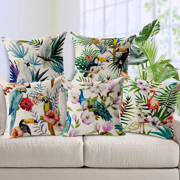 Customize Luxury Decorative Pillows   Colorful Parrots And Other Birds Peacock Pattern Pillow  Sofa Bed