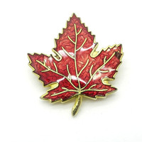 Vintage Red Maple Leaf Brooch, Enamel Gold Tone Leaf Pin