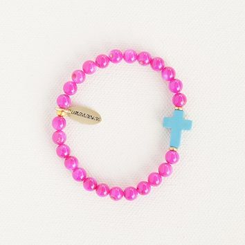 Liv•N•Grace  Pink  Beads  with  Turquoise  Cross  Bracelet  From  Natural  Life