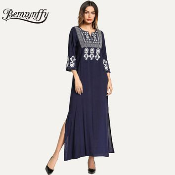Benuynffy V-neck Embroidery Women Long Dress Navy 2018 Spring New Ladies Casual Vintage 3/4 Sleeve Side Slit Maxi Dress Q811