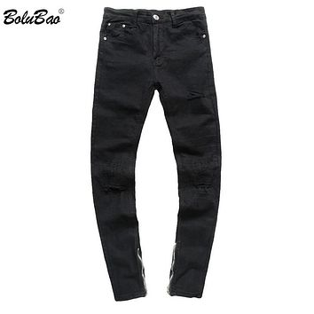 Men Distressed Ripped Jeans Black Denim Pants Slim Skinny Trousers Casual Skinny Hole Zipper Pencil Jeans