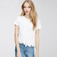 White Short Sleeve Floral Cut-out Blouse